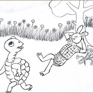 Bé tư duy - tô màu thỏ và rùa