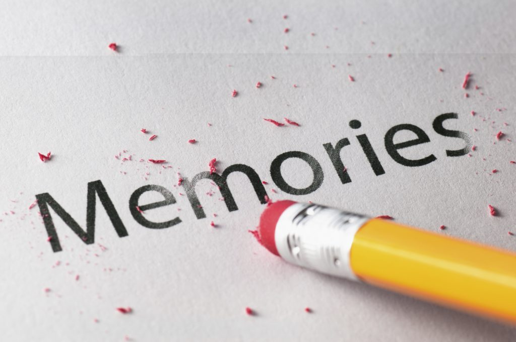 Removing word with pencil's eraser, Erasing memories
