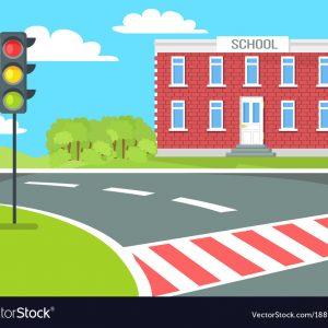 Pedestrian near school building, traffic lights stand on grass vector illustration near educational establishment. Crosswalk not far from brick building