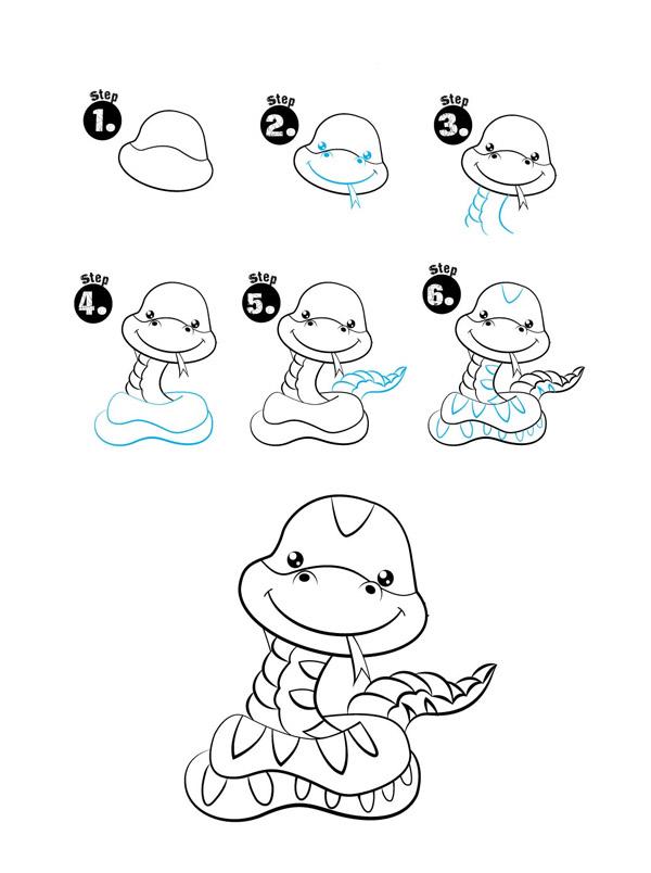 Dạy bé vẽ rắn 3